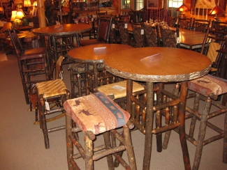We have pub tables bistro tables and counter-height tables with bar stools or chairs to match in woven wood splint upholstered or leathers. & Dining Tables u0026 End Tables | Owls Head Rustics